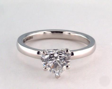 1.01ct Heart, Comfort Fit Solitaire Diamond Engagement Ring in 2mm Platinum by James Allen