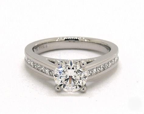 1.72ct Round Thin Channel-Set Engagement Ring with GIA Diamond (EX-Cut E-Color VS2-Clarity) in Platinum 2.5mm Band