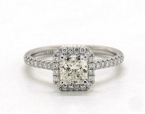 1.72ct Radiant, Stunning Halo Pave Engagement Ring in 1.8mm 18K White Gold