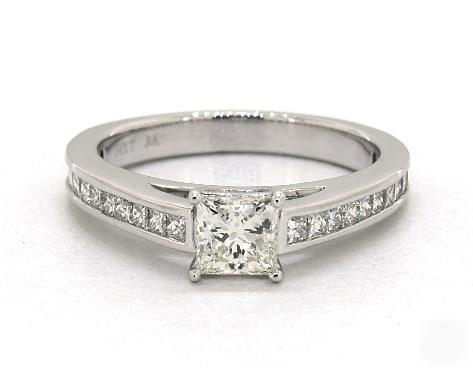 1.51ct Princess Diamond Engagement Ring (Ideal-Cut G-Color VS2-Clarity GIA) Single Claw Channel-Princess 4mm Platinum