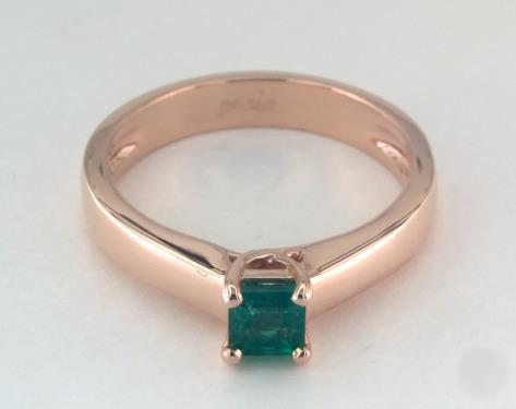 .3ct Emerald Cut Green Emerald, Tapered Solitaire Thin Cross Engagement Ring in 14K Rose Gold 4mm Width Band