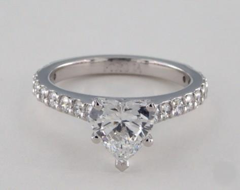 1.01ct Heart, Common-Prong Pave Diamond Engagement Ring in 2.2mm Platinum by James Allen
