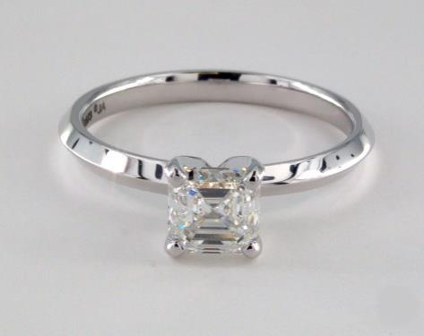1.01ct Asscher, Knife-Edge Classic 4-Prong Engagement Ring in 2mm 18K White Gold by James Allen