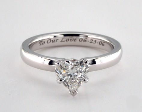 1.21ct Heart, Classic Solitaire Comfort-Fit Engagement Ring in 2.5mm 14K White Gold