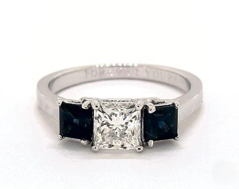 1.01ct Princess Side Princess-Sapphire Ring w/ Side Blue Sapphires in 2.2mm 18K White Gold by James Allen