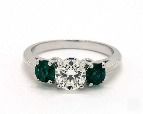 1ct Round, Side Green-Emerald Engagement Ring in 2.2mm 18K White Gold
