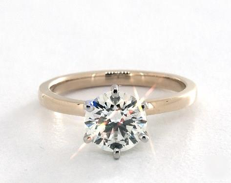 1.50ct Round, Solitaire Comfort-Fit 6-Prong Engagement Ring in 2mm 18K Yellow Gold