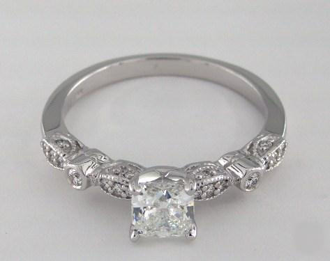 1.01ct Cushion, Vintage Pave Bezel Engagement Ring in 4mm 18K White Gold by James Allen