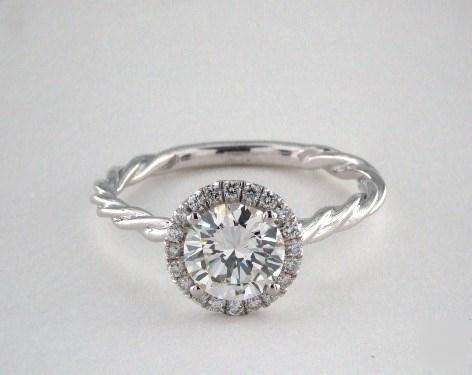 .90ct Round, Diamond Halo Twisted Cable Engagement Ring in 1.8mm 14K White Gold