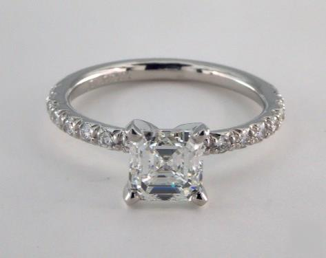 1.59ct Asscher, French Pave Diamond Engagement Ring in 2.1mm Platinum