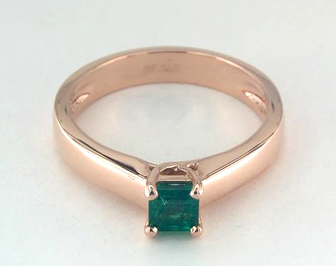 .34ct Emerald Cut Green Emerald, Tapered Solitaire Thin Cross Engagement Ring in 14K Rose Gold 4mm Width Band