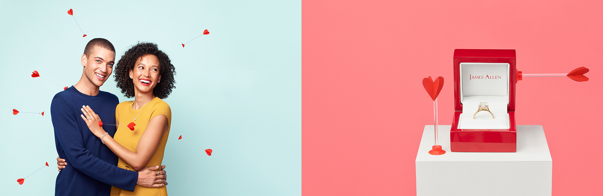 Two images side by side. Left hand image is a couple hugging each other as arrows are being launched at them. Right hand image is of an engagement ring inside a red box with mini arrows nearby.