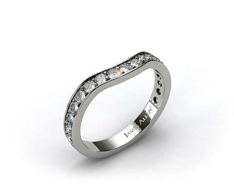 Platinum Ladies 0.42ctw Curved Pave Set Diamond Wedding Ring