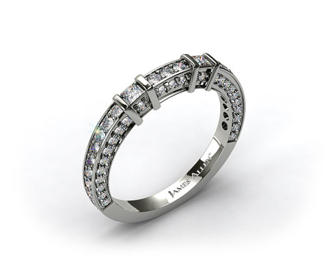 14K White Gold 0.93ct Bar Set and Pave Diamond Wedding Ring