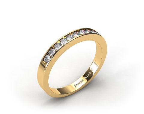 18K Yellow Gold 0.16ct Channel Set Diamond Wedding Ring