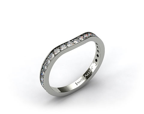 Platinum .17ct Curved Pave Set Diamond Wedding Ring