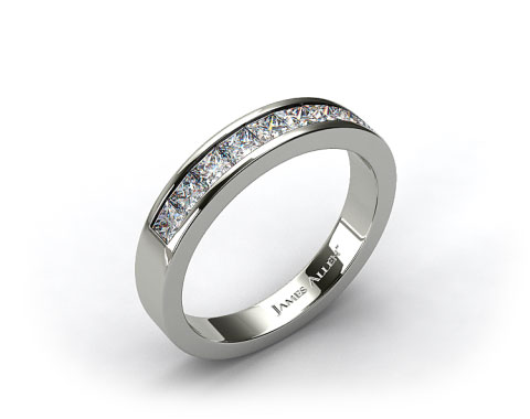14K White Gold 0.54ct Channel Set Diamond Wedding Ring
