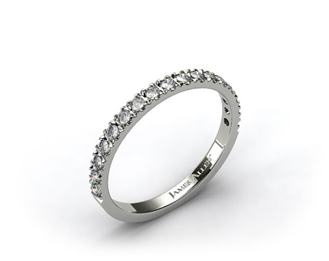 Platinum 0.39ct Art-Nouveau Pave Set Diamond Wedding Ring