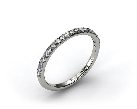 Platinum 0.15ct Thin Pave Set Diamond Wedding Ring