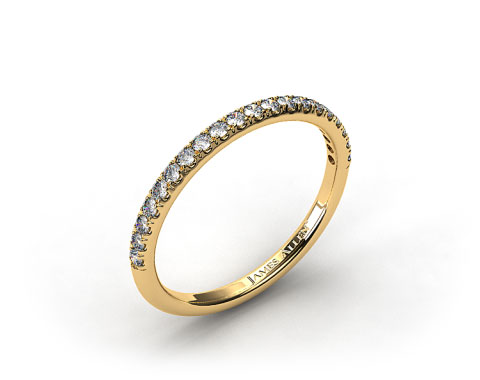 18K Yellow Gold 0.15ct Thin Pave Set Diamond Wedding Ring