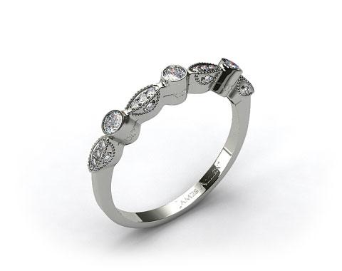 18K White Gold Bezel and Pave Set Diamond Wedding Ring