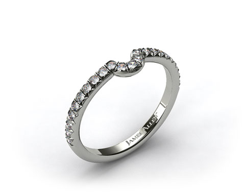 Platinum Pave Set Curved Wedding Ring