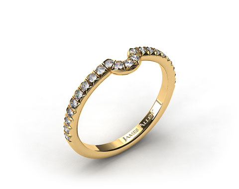 18K Yellow Gold Pave Set Curved Wedding Ring