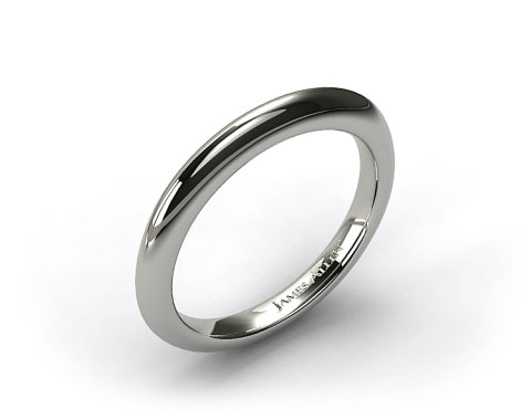 18K White Gold Rolled Wedding Band