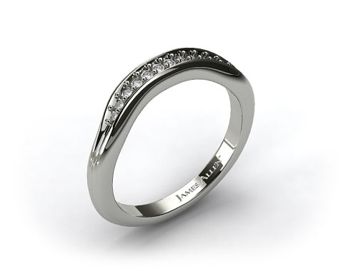 14K White Gold Pave Diamond Ribbed Wedding Band