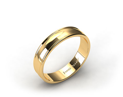 18K Yellow Gold 6mm Grooved Edge Comfort Fit Wedding Band