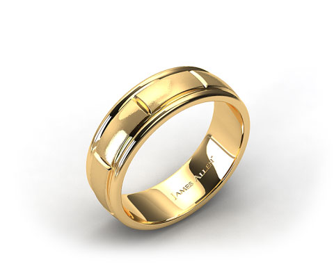18K Yellow Gold 6mm Grooved Comfort Fit Wedding Band