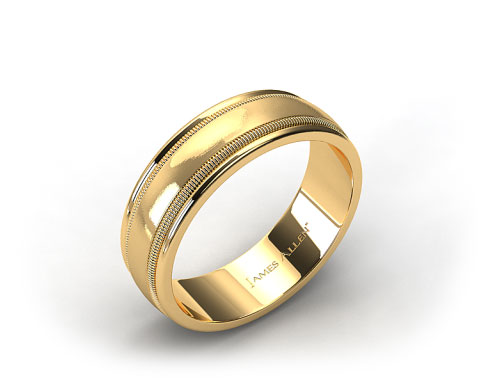 18K Yellow Gold 8mm Milgrained Edge Comfort Fit Wedding Band