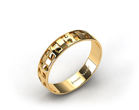 18K Yellow Gold 6mm Iron Cross Mens Wedding Wedding Band