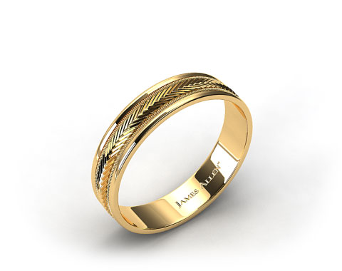 18K Yellow Gold 6mm Arrow Design Comfort Fit Wedding Band
