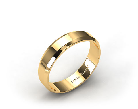 18K Yellow Gold 6mm Beveled Comfort Fit Wedding Band
