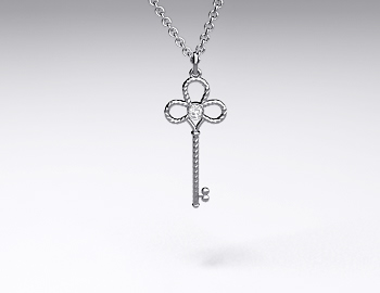 18K White GoldSterling Silver Mini-Intertwined Diamond Key Pendant (0.02ctw)