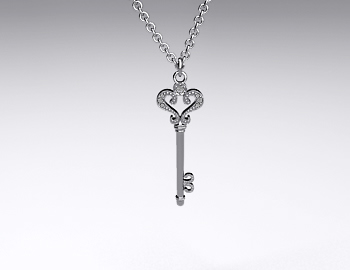 Sterling Silver Pave Scroll Key Pendant (0.04ctw.)
