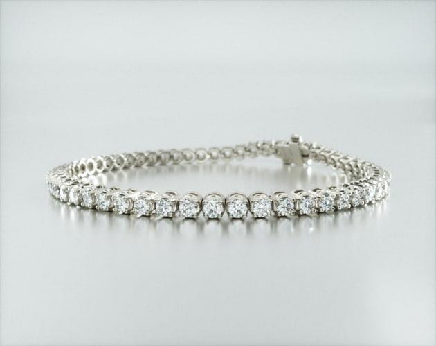 14K White Gold Four Prong Diamond Tennis Bracelet (3 CTW)