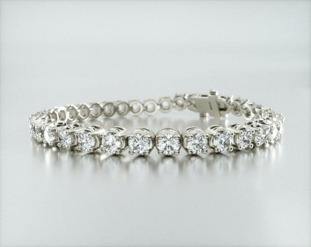 14K White Gold Four Prong Diamond Tennis Bracelet (8 CTW)