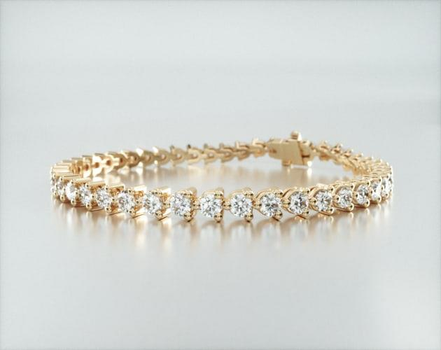 14K Yellow Gold Three Prong Diamond Tennis Bracelet (5 CTW)