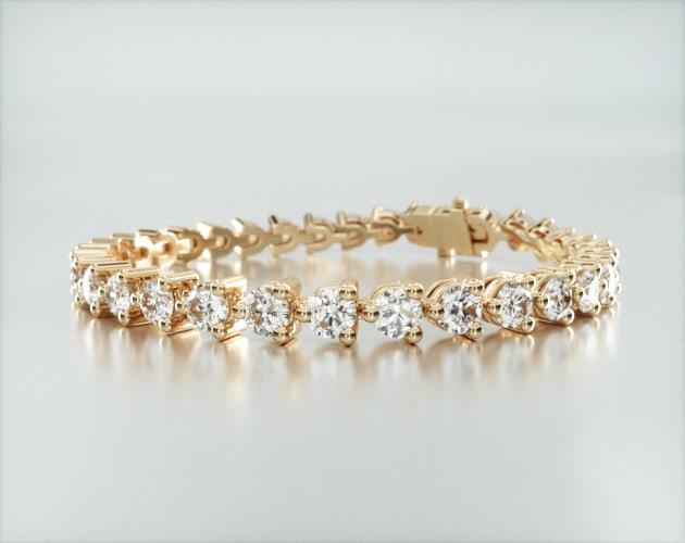 14K Yellow Gold Three Prong Diamond Tennis Bracelet (10 CTW)