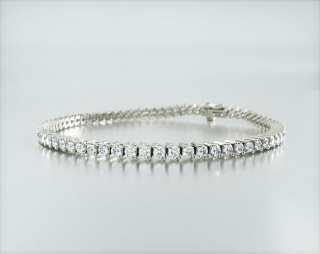 14K White Gold Two Prong Diamond Tennis Bracelet (3 CTW)