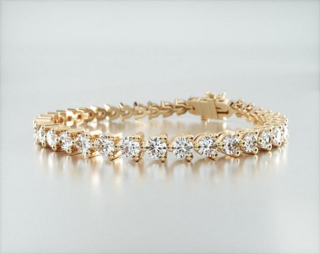 14K Yellow Gold Three Prong Flower Clasp Diamond Tennis Bracelet (8 CTW)