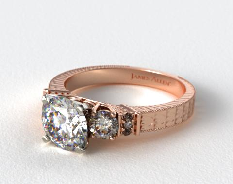 14K Rose Gold Royal Antique Style Round Shaped Diamond Engagement Ring