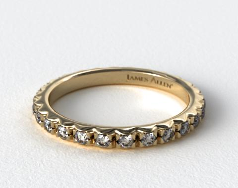 18K Yellow Gold French-Cut Pave Diamond Eternity Ring (.56 CT TW.)
