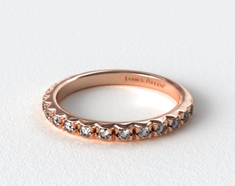 14K Rose Gold Rounded French-Cut Pavé Diamond Wedding Ring