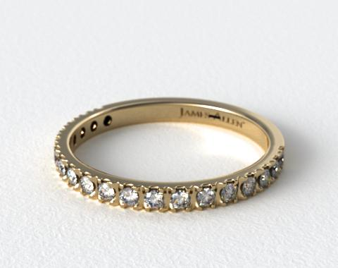 18K Yellow Gold Art-Nouveau Pave Set Diamond Wedding Ring (.27 CTW.)