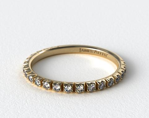 18K Yellow Gold Thin French-Cut Pave Set Diamond Wedding Ring (.20 CTW.)