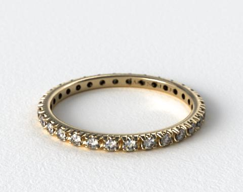 18K Yellow Gold Thin French-Cut Pave Set Diamond Eternity Wedding Ring