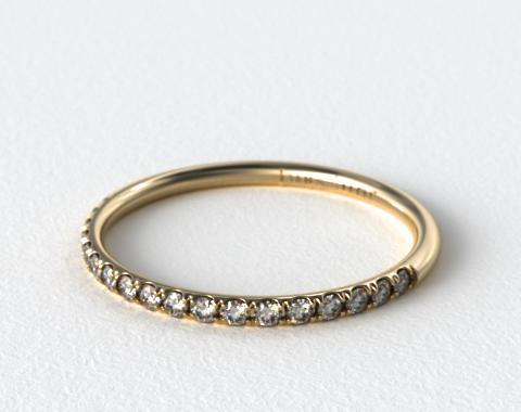 18K Yellow Gold 1.5mm, 21 Stone, 0.14ctw Matching Pave Wedding Band